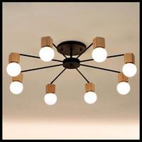 Wholesale wood LED ceiling lights living room bedroom children s room ceiling lamp modern study lustre baby home lighting chandelier fixture