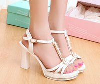 Wholesale In the summer of the new elegant lady sandals heels peep toe diamond pure color sandals female waterproof thick with sandals