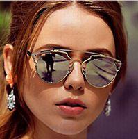 eye glasses - So fashion real metal frame sunglasses women brand designer retro vintage sunglasses cat eye glasses famous brand sun glasses