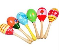 Wholesale mixed colour Intelligent Mini sand hammer Baby Wooden Toy Rattle Cute Mini Baby maracas