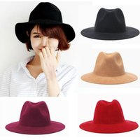 Wholesale Hot Fashion Vintage Women Ladies Floppy Wide Brim Stingy Brim Hats Wool Felt Fedora Cloche Hats Cap PX42