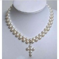 akoya pearl pendants - Charming Rows White Akoya Cultured Pearl Cross Pendant Necklace quot