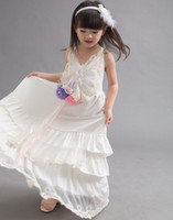baby dress stitching - 2015 NEW ARRIVAL baby girl kids Korean lace tulle stitching Splicing dress Princess embroidered cake dress Beautiful long beach dress