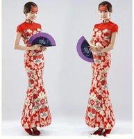 Cheap 2015 Spring New Long Bride Wedding Dress Red Cheongsam Improved Chinese Toast Clothing Formal Dress Cheongsam Dress High Collar 2015190