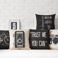 vintage black guitar - Wholesales Vintage Cotton Linen Cushion Cover Home Decor cm cm Black Vintage Camara Bicycle Guitar Pillow Case