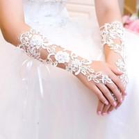 Lace Hot Guantes largos de novia de encaje francés guantes largos guantes blancos de marfil de encaje sin dedos, guantes de novia de la boda accesorios CPA242 victoriana