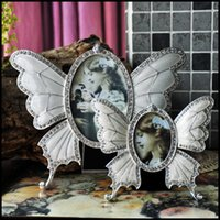 Wholesale Fashion Beautiful Butterfly europeanish Photo Frame with Clear Rhinestones Home Decration vintage Picture Photo Frame Craft