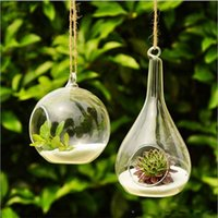Wholesale Hot Clear Glass Round with Hole Flower Plant Stand Hanging Vase Hydroponic Container Home Office Decor