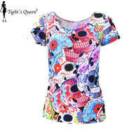Cheap Wholesale-SKULL HEAD New ARRIVE 2015 Punk Day of the Dead Print Women Summer Top T shirts punk Clothing DROP Shipping
