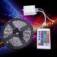 Wholesale 5M SMD RGB Strip light LED Key IR Remote V A power Led Ribbon Tape Home Decoration Lamp SV008925