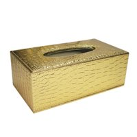 Wholesale Duluxe Alligator pattern leather crocodile gained leather tissue box paper napkin case Size L Black A034