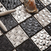 Wholesale GM07 Mosaic background wall metal mosaic silver black stainless steel mosaic tile