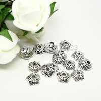 Wholesale x4mm Antique Silver Flower Bead End Caps Jewelry Findings