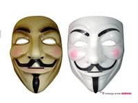 Wholesale V Mask Halloween Mask Masquerade Masks For Vendetta Anonymous Valentine Ball Party Full Face Super Scary Guy Fawkes MYF258
