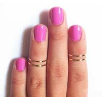 Cheap 50pcs lot Gold Silver Plated Alloy Band Midi Ring Urban Gold stack Plain Cute Above Knuckle Joint Rings 2 colors