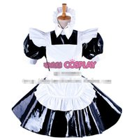Wholesale Classic Maid Costume - New Arrival Custom made Sissy Maid White Lace Satin Dres Lolita Cosplay Costume