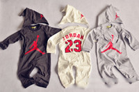 baby jordan - 2015 Spring Baby Clothes Rompers Set Children Clothing Basketball Jordan Long Sleeve One piece Wihte Hats Outfits Infant Kids H3390