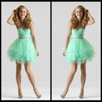 Wholesale Graduation Dresses For th Grade Girls Mini Short Sweetheart Ruffles Crystals Beaded Tulle Mint Homecoming Dress Cheap