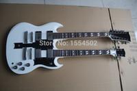 6 cordes et 12 cordes SG guitare électrique, double cou, couleur blanche, fait main guitares logo OEM, fabriqué en Chine