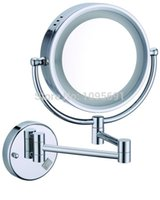 led light magnifying mirror - LED light makeup mirrors quot round single sides X mirrors dual arm extend cosmetic wall mount magnifying cosmetic mirror