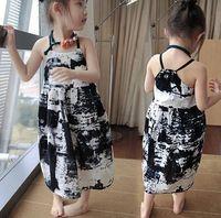 Cheap china ink painting dress summer girl beach dress bohemian girls dresses for girls sleeveless bohemian children free shipping in stock