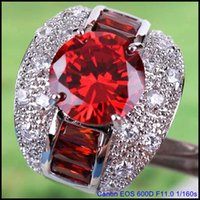 best selling rings - Best Selling AR6 Round Cut CT Garnet White Topaz Gemstones Silver Ring Size IN STOCK A0079