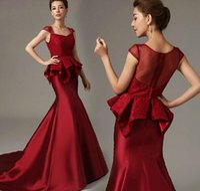 peplum - 2015 New Square Red Satin Mermaid Evening Formal Dresses Ribbon Ruffles Tiers Peplum Lace Bridal Evening Prom Gowns Dubai Arabic Gossip Girl