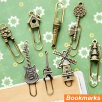 Wholesale 16 in bag Vintage Metal Bookmarks Paper clip Page Holder marcador de livro Zakka stationery office School supplies