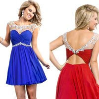short sparkly prom dresses - 2015 New Sparkly Cocktail Homecoming Dresses Scoop Neck Capped Chiffon A Line Beading Crystal Short Prom Dresses Sexy Mini Party Dresses