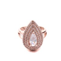 Wholesale SJEWELER European and American fashion white zircon ring inlaid drop type gold plated female models ring