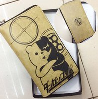 Wholesale 30pcs Attack of the giant One Piece black and white bear cartoon Wallet Zipper Hatsune multiple screens Long Wallet hql