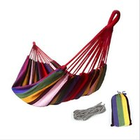 Nylon   Strong Canvas Fabric Camping Hunting Hammock Hanging Bed 200*100cm Swing Hammocks Colorful Indoor Outdoors