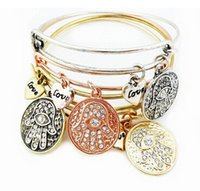 Wholesale Love heart and coin anchor cross starfish palm bangle Alex And Ani bracelet for women bracelet EH110