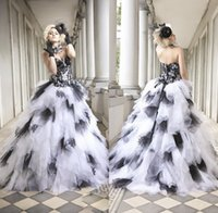 Wholesale Newest White And Black Wedding Dresses A Line Sweetheart Tulle Lace Appliques Ruched Chapel Train Corset Back Sexy Bridal Gowns