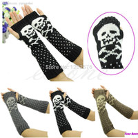 arm warmers wool - Hot Women Skull Knitted Wrist Arm Long Fingerless Mitten Winter Gloves Soft Warm