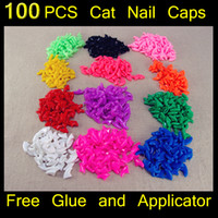 Wholesale 100pcs set Cat nail Caps soft cat paw Control Pets Silicon Nail Protector free glue
