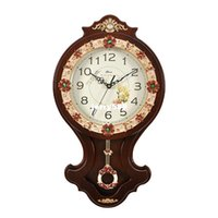 antique wooden swing - 100 real picture Continental personality artistic wall hanging watches creative pastoral decorative wooden swing quartz clock mute parlor