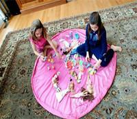 bin bag - 150cm Portable Kids Toy Storage Bag Play Mat Big Toys Organizer Bin Box L Size for brick Toys