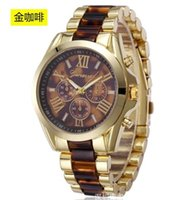big buckle card - Geneva Men s Watch Card Plastic Alloy Watchband Big Roman Numerals Luxury Alloy Watches For Men and Women Colors