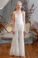 Wholesale Wedding Pant Suits For Brides Spaghetti Strap Lace Wedding Dresses With Plunging Neckline Fashion Sexy White Floor Length Wedding Gowns