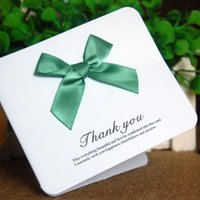 Wholesale 20pcs Wedding Party Supplies Ribbon Bowknot Style Thanks Card Paper Invitation Cards Birthday Accessories WS302