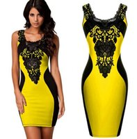 Wholesale Summer new European and American star burst models embroidery stitching sexy package hip dress Street Style