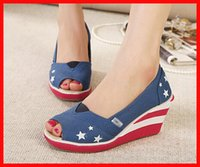 american classics high heels - new fashion women canvas shoes American Flag women pumps platform classic red blue party sexy high heels shoes wedges