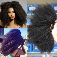 afro kinky human hair - 8 inch or afro kinky curl weaving Indian Brazilian Mongolian Peruvian kinky curly virgin human hair extensions natural black