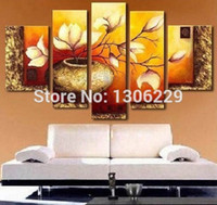 Wholesale 5 Piece Wall Art Decor Picture Set Hand painted Modern Abstract Flowers in Vase Oil Painting On Canvas Landscape Sale No Framed