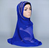 muslim lady scarf - Lastest muslim flower bead scarf muslim hijab The Czech drill head scarf glittering diamond scarf islamic hijab lady scarf flower scarfs