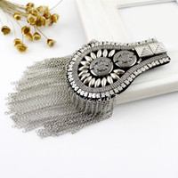 Wholesale Min order Hip Hop Jewelry Cool Vintage Style Silver Black Color Alloy Tassels Chain Brooch Broche Shoulder board
