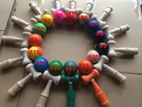 ball tributes - DHL cm Funny Japanese Traditional Wood Game Toy Kendama Ball colorful piece tribute professional DQ001