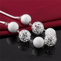 Wholesale Classic Hollow Out Balls Bead Necklace Long Section of HighTexture Flash Silver Plated Pendant Necklace