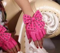 fashion fingerless leather gloves - Fashion lady PU leather rivet bowknot fingerless fingerless gloves exercise bike half gloves
